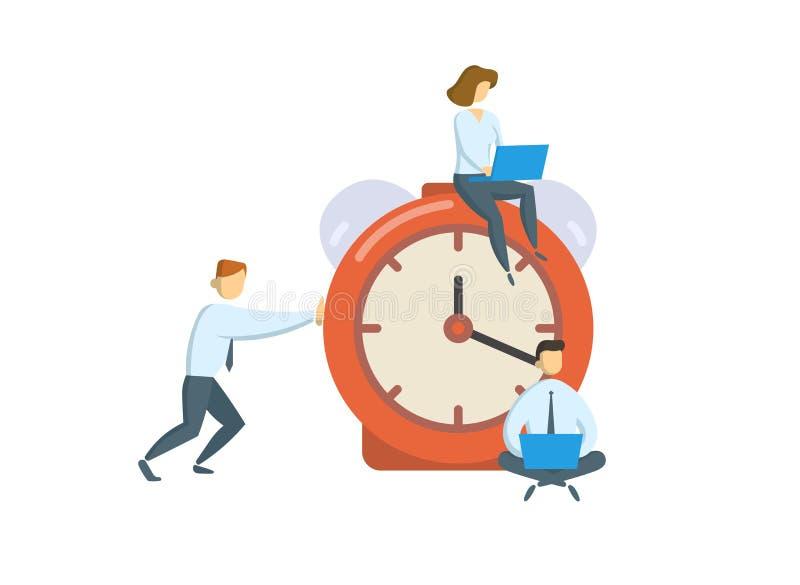 Kierownicy wokoło dużego budzika Biznes, biurowy czasu pojęcie Płaska wektorowa ilustracja pojedynczy białe tło ilustracja wektor