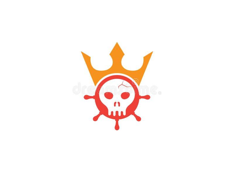 Kierownicza czaszka wśrodku statku koła ikony z koroną dla pirata królewiątka logo projekta ilustracji na białym tle royalty ilustracja