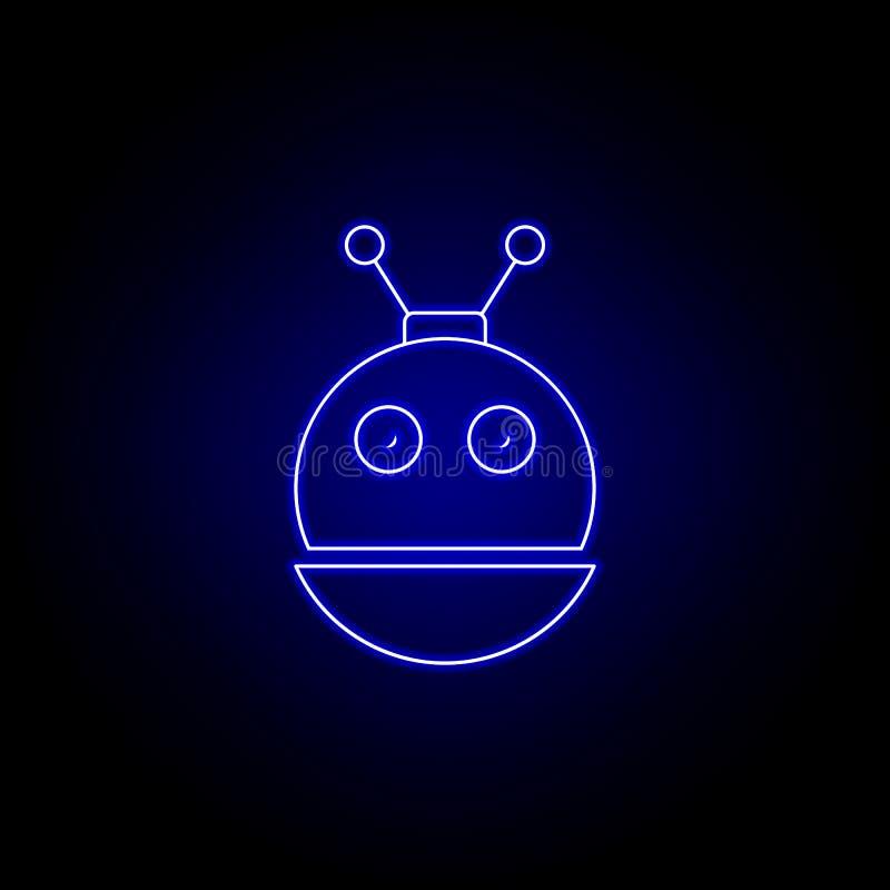 kierownicza dziecko robota linii ikona w błękitnym neonowym stylu Znaki i symbole mog? u?ywa? dla sieci, logo, mobilny app, UI, U ilustracja wektor