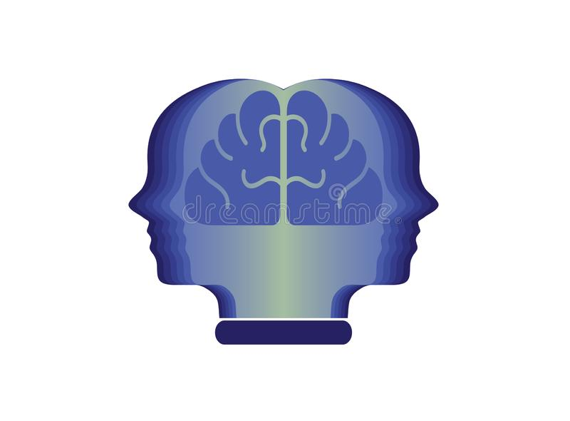Kierownicza osoba z mózg w książce dla logo projekta ilustracji, edukacji ikona, umysłu sukcesu symbol ilustracji