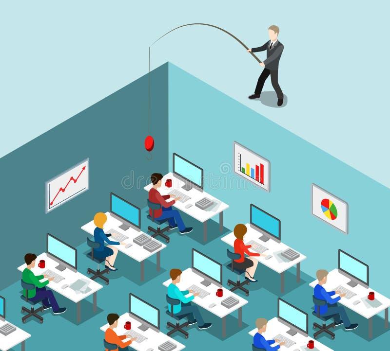 Kierowniczego polowania HR połowu biurowy biznesowy płaski isometric wektor 3d ilustracji