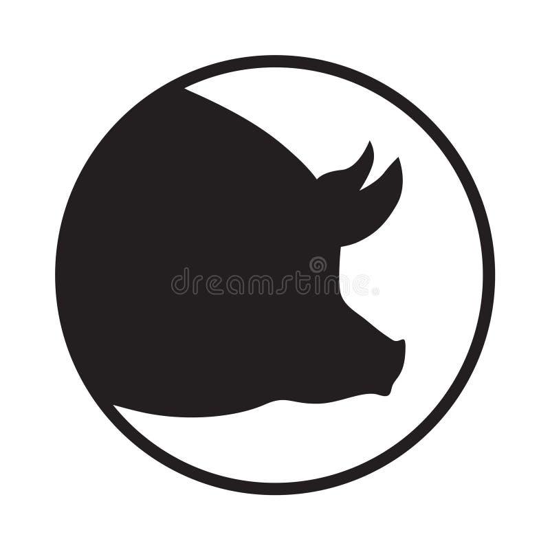 Kierowniczy świniowaty symbol w okręgu royalty ilustracja