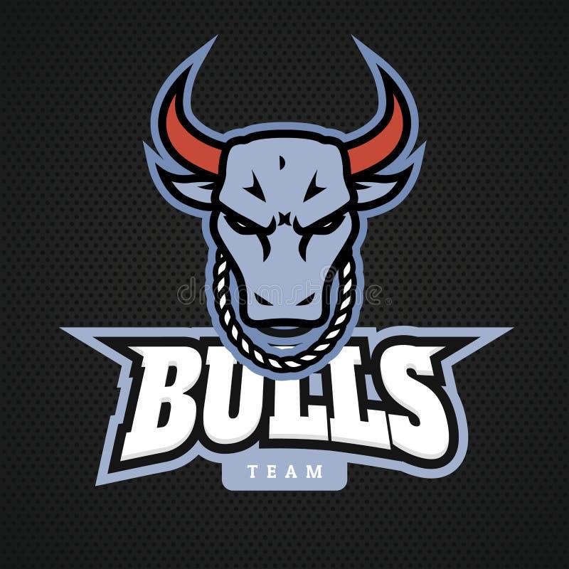 Kierowniczy byka logo ikony projekty z łańcuchem na szyja wektorze ilustracji