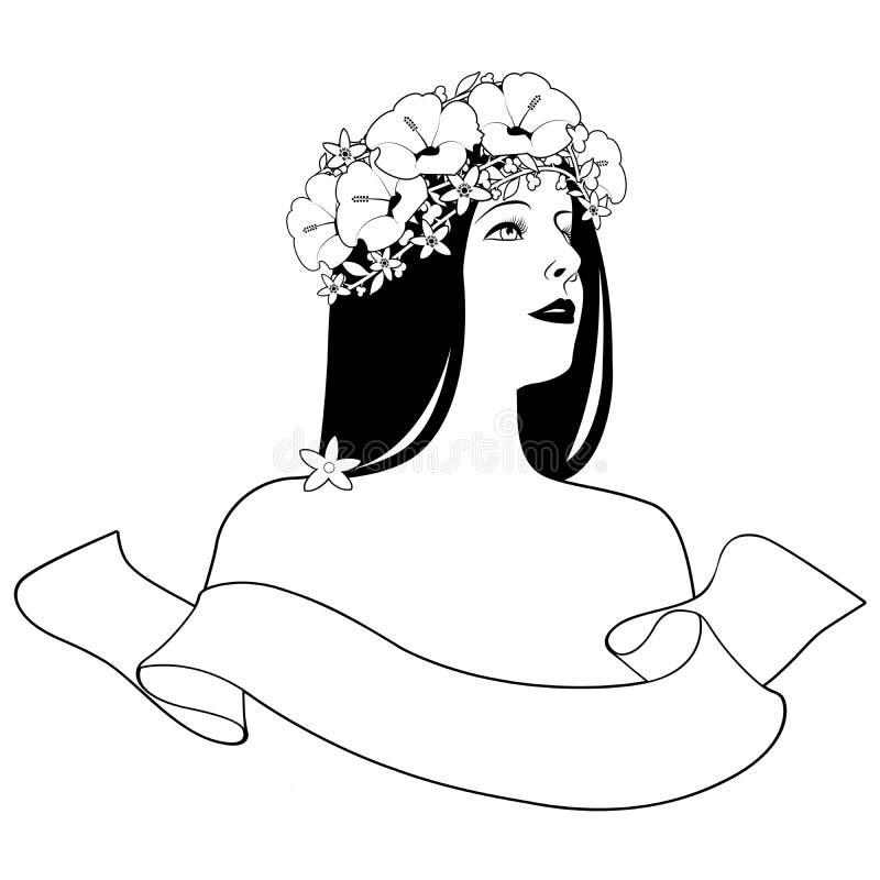 Kierowniczy i ramiona piękna dziewczyna z sztandarem na białym tle kwiatu teksta i wianku Etykietka, logo lub gatunek, royalty ilustracja