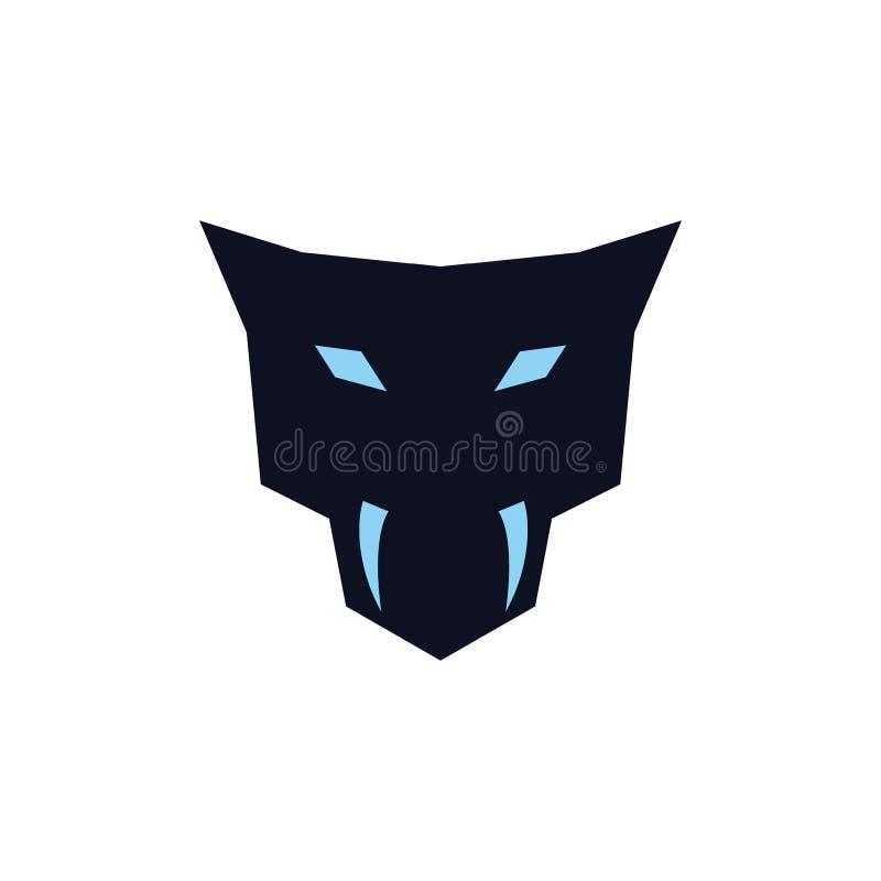 Kierowniczy jaguar z fangs logo pojęciem royalty ilustracja