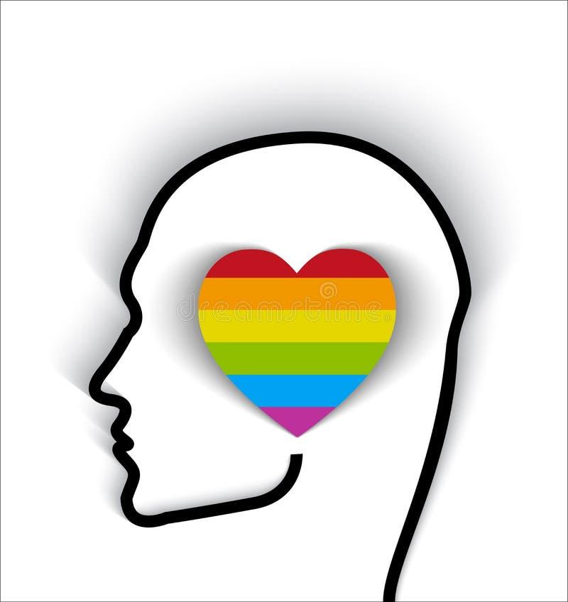 Kierowniczy kontur z kierową homoseksualista flaga - dumną być homoseksualny ilustracji