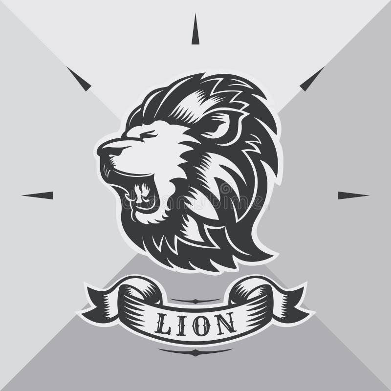 Kierowniczy lew z rocznika faborkiem royalty ilustracja