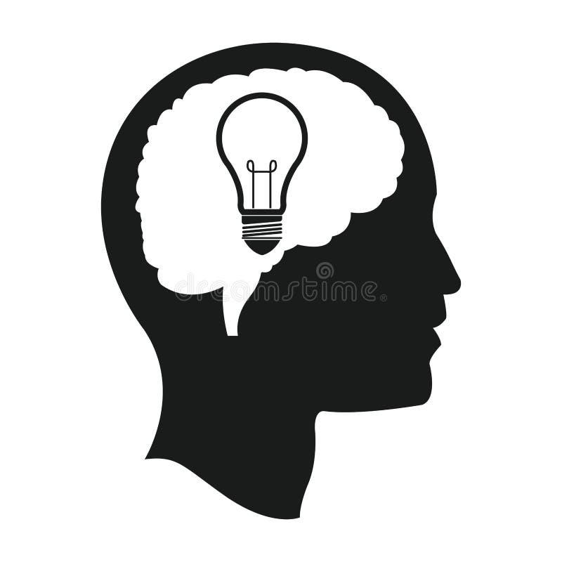 kierowniczy móżdżkowy żarówka pomysłu umysł ilustracji