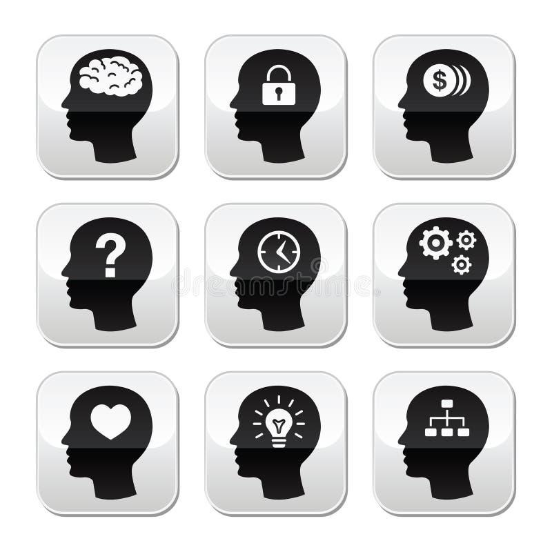 Kierowniczy mózg guziki ustawiający ilustracji