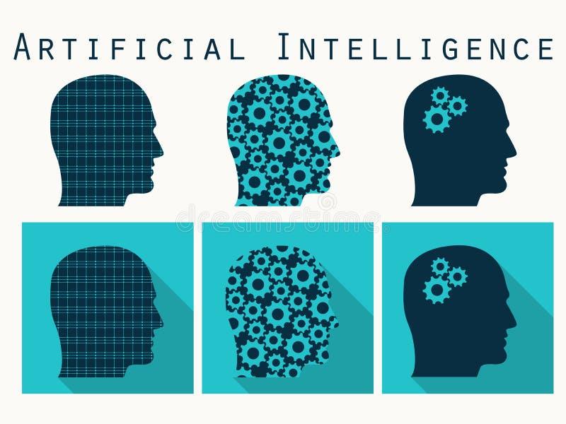 kierowniczy nadchodząca kierownicza istota ludzka silhouette słowa Sztuczna inteligencja, głowa z gea royalty ilustracja
