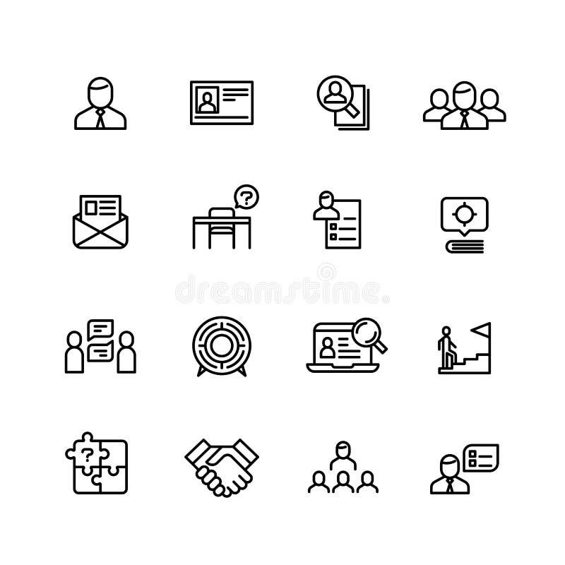 Kierowniczy polowanie, fachowi ludzie zarządzanie linii ikon Rewizja dla pracowników, praca i kariera, zarysowywamy wektorowych s royalty ilustracja