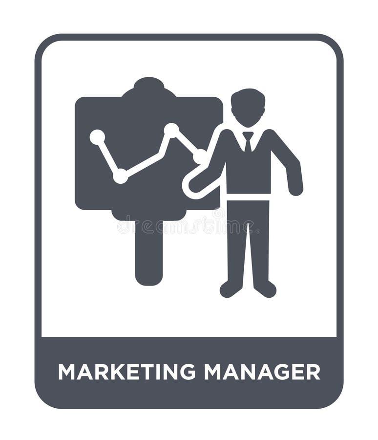 kierownik ds. marketingu ikona w modnym projekta stylu kierownik ds. marketingu ikona odizolowywająca na białym tle kierownik ds. royalty ilustracja