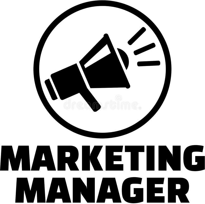 Kierownik ds. marketingu z megafon ikoną ilustracja wektor