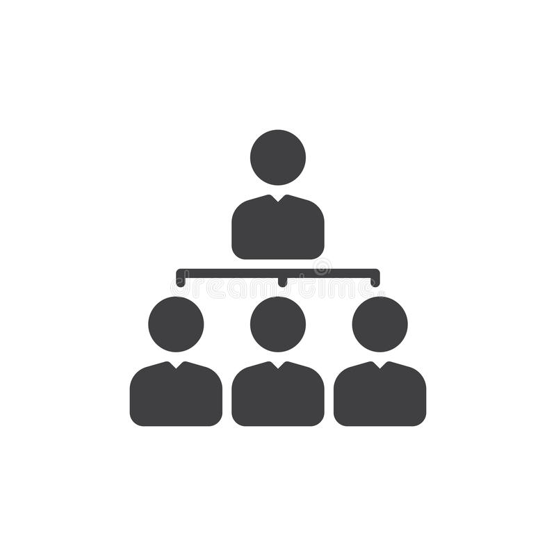Kierownik ikony wektor, wypełniający mieszkanie znak, stały piktogram odizolowywający na bielu organizaci mapy symbol, logo ilust ilustracji
