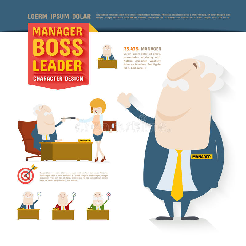 Kierownik, szef, lider, charakteru projekt ilustracji