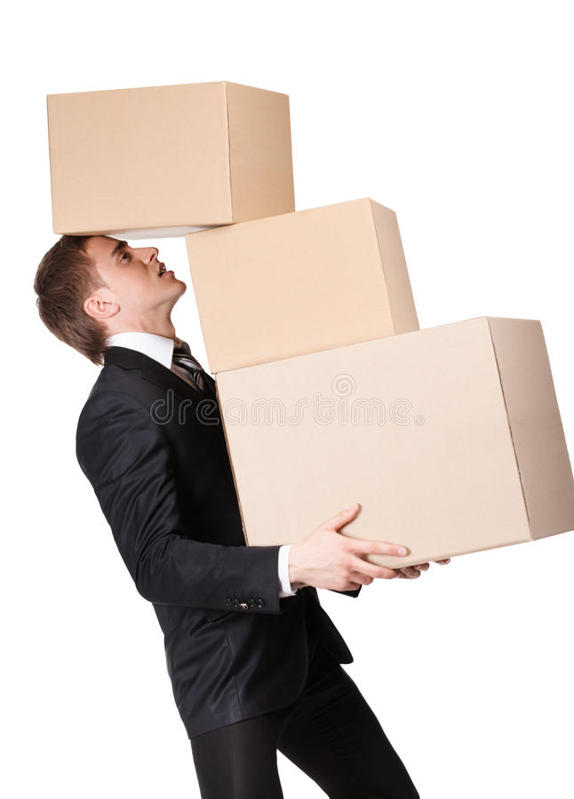 Kierownik target1001_0_ stos pasteboard pudełka obrazy royalty free