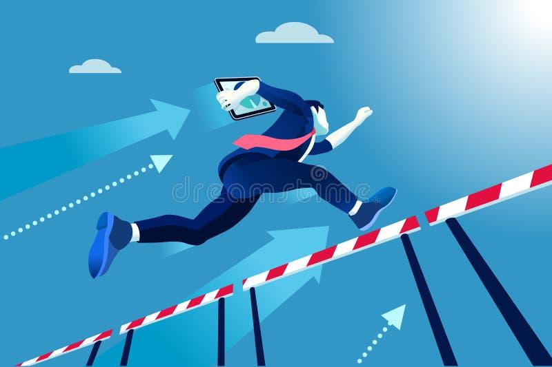 Kierownika biegowy doskakiwanie nad przeszkodami ilustracja wektor