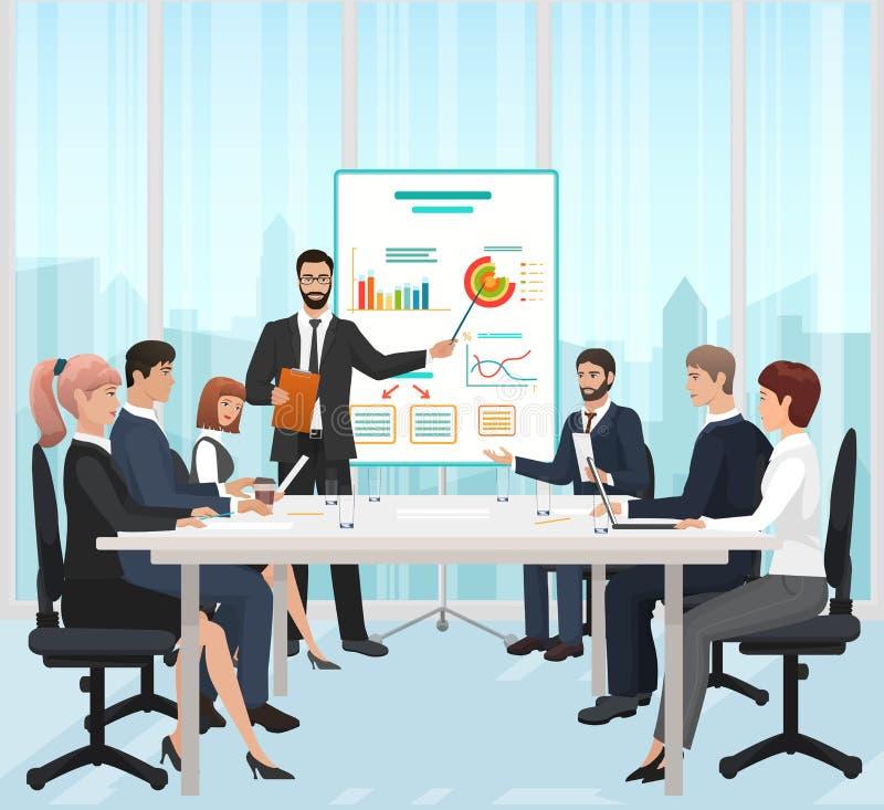 Kierownika biznesmen prowadzi prezentację podczas spotkania w biurowej wektorowej ilustraci royalty ilustracja