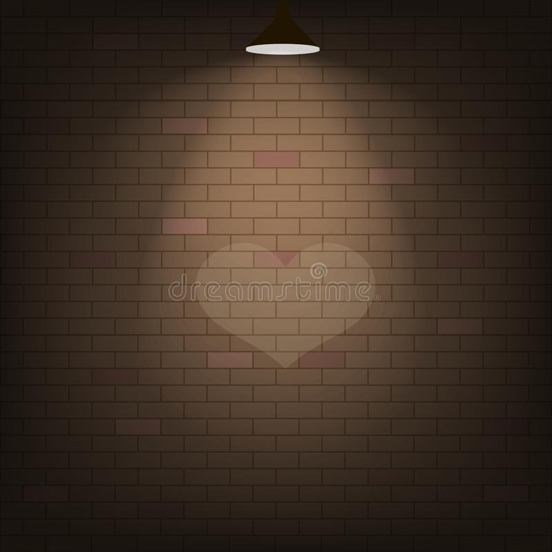 Kierowy światło reflektorów na ściana z cegieł wektor royalty ilustracja