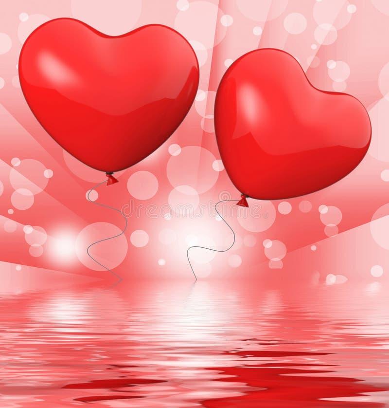 Kierowy balonów pokazów miłości Poślubiać I małżeństwo ilustracja wektor