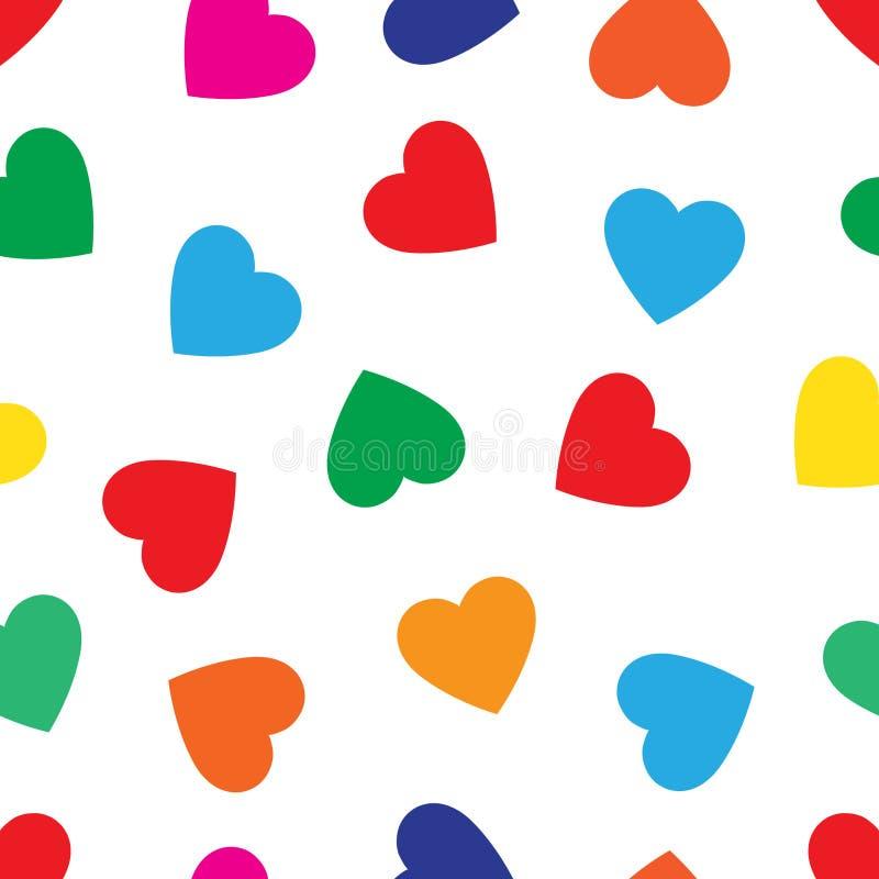 Kierowy bezszwowy wzór, niekończący się tekstura Stubarwni serca na białym tle, wektorowa ilustracja Walentynki `s dzień wzór ilustracji