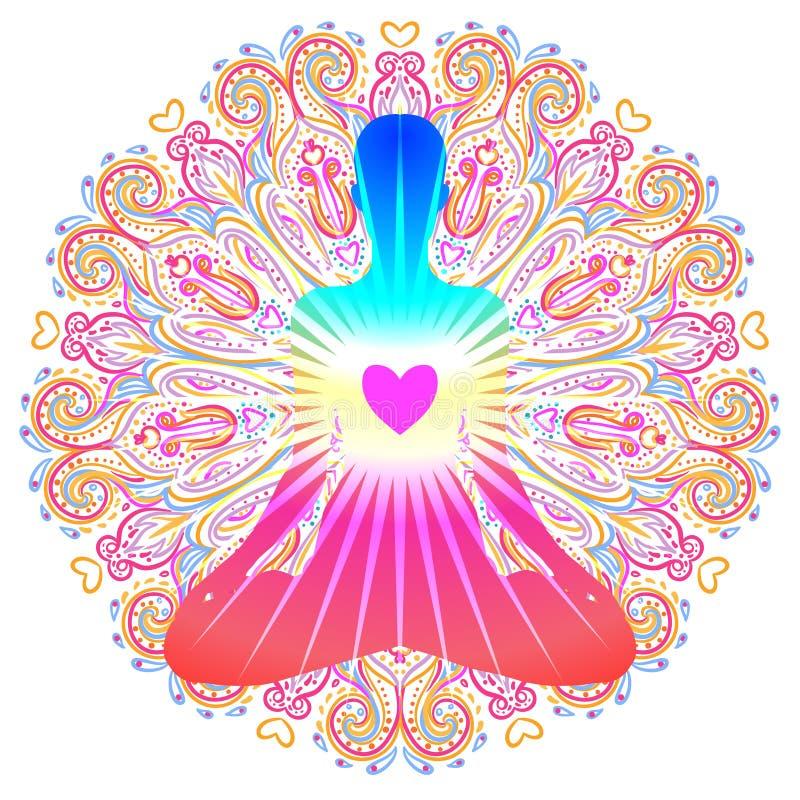 Kierowy Chakra pojęcie Wewnętrzna miłość, światło i pokój, Sylwetka wewnątrz ilustracji