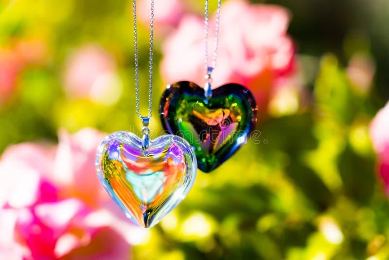 Kierowy krystaliczny szkło refract światło słoneczne ogródu różanego tło - światła słonecznego zegarowego backgroundheart krystal zdjęcia stock