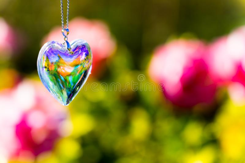 Kierowy krystaliczny szkło refract światło słoneczne - ogródu różanego tło zdjęcia stock