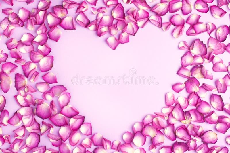 Kierowy kształt różowi płatki na różowym tle Walentynki ` s dzień z pięknymi różanymi płatkami miłości tło obraz royalty free