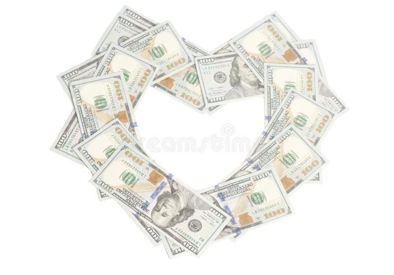Kierowy kształt robić dolarów rachunki fotografia stock