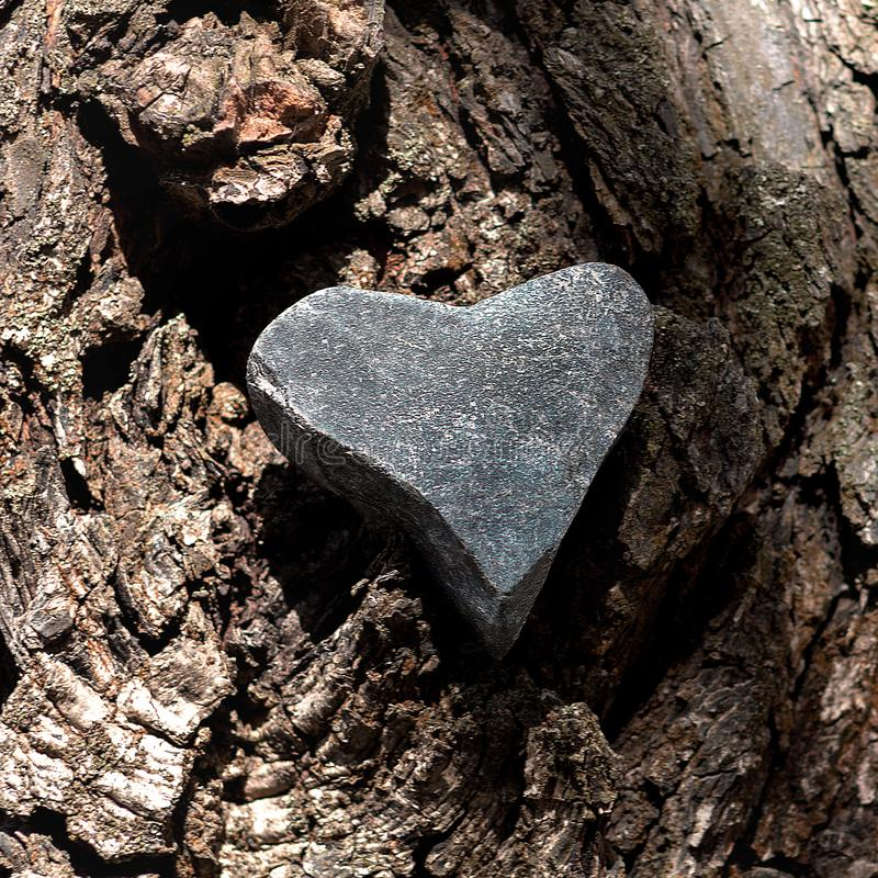 Kierowy kształt szara otoczaka kamienia intarsja w teksturze drzewna barkentyna obrazy stock