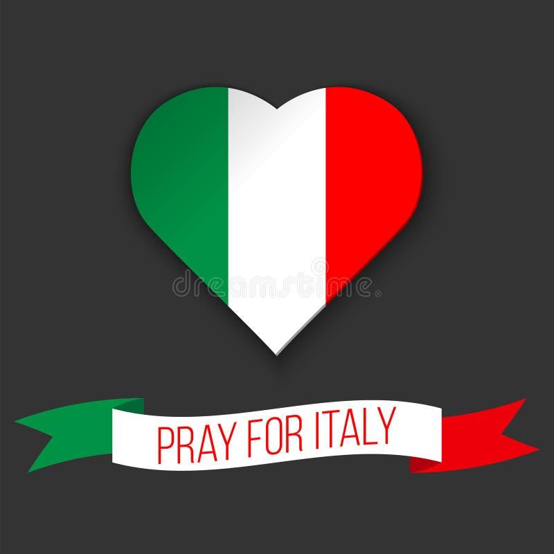 Kierowy kształt w kolorach włoszczyzny flaga Faborek z ono Modli się Dla Włochy teksta również zwrócić corel ilustracji wektora O ilustracja wektor