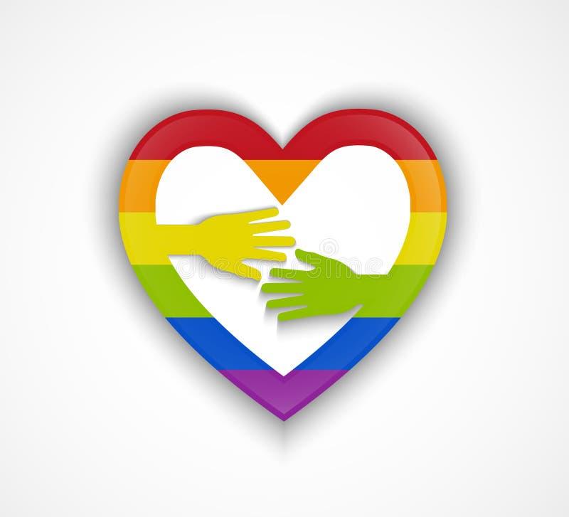 Kierowy kształt z homoseksualista flaga i dwa rękami - homoseksualny pary pojęcie ilustracja wektor