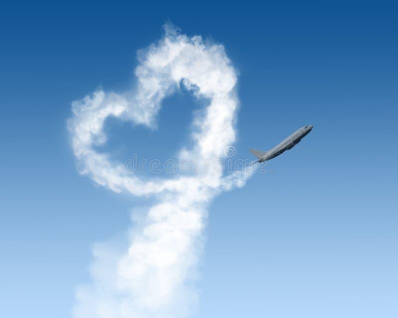 Download Kierowy Kształta ślad Od Samolotu Na Błękicie Obraz Stock - Obraz złożonej z samolot, znak: 28967243