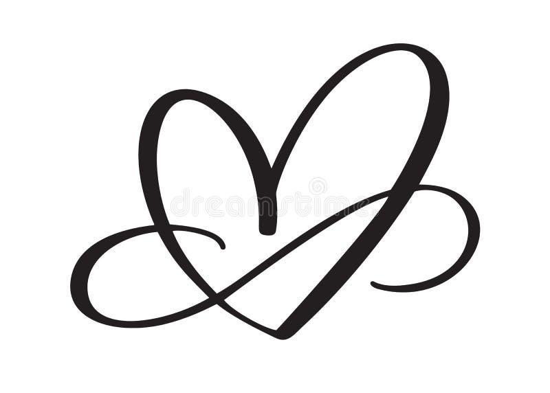 Kierowy miłość znak na zawsze Nieskończoność Romantyczny symbol łączący, łączy, pasja i ślub Szablon dla t koszula, karta, plakat ilustracja wektor