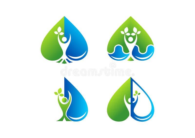 Kierowy opieki wellness logo, piękno, zdrój, zdrowie, roślina, wody kropla, miłość, zdrowi ludzie symbol ikony projekta ilustracji