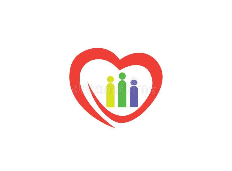 Kierowy rodzinny troskliwy Herz und Familie logo ilustracja wektor