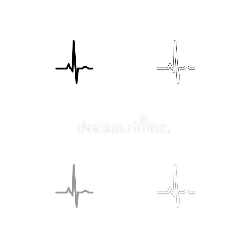 Kierowy rytmu ekg czerń i siwieje ustaloną ikonę ilustracji