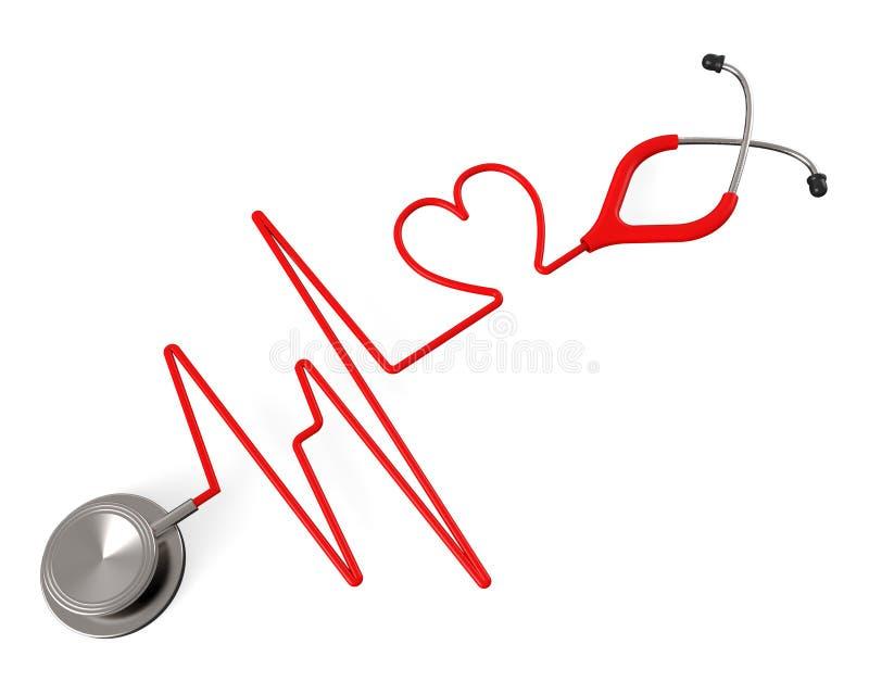 Kierowy stetoskop Wskazuje zdrowie afekcję I czeka ilustracja wektor