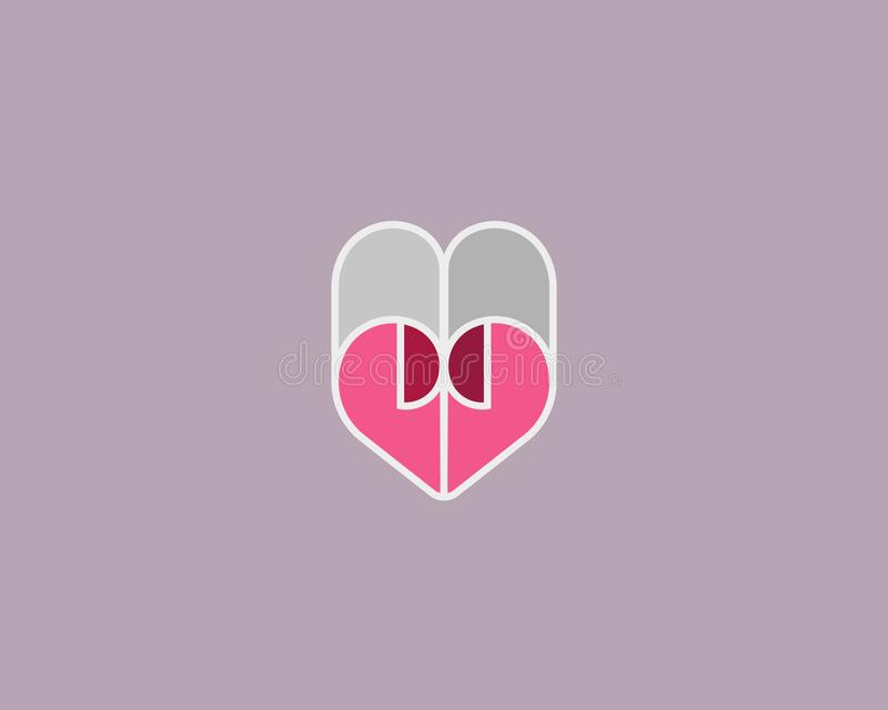 Kierowy wektorowy symbol Walentynka dnia papieru logotyp Abstrakt linii dokumentu loga ikony projekt ilustracja wektor