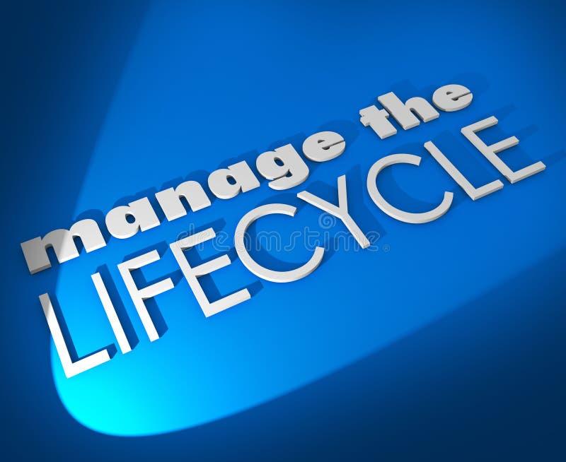 Kieruje cyklu życia 3d słowa Rozwija sprzedaże Przetwarza procedurę ilustracja wektor