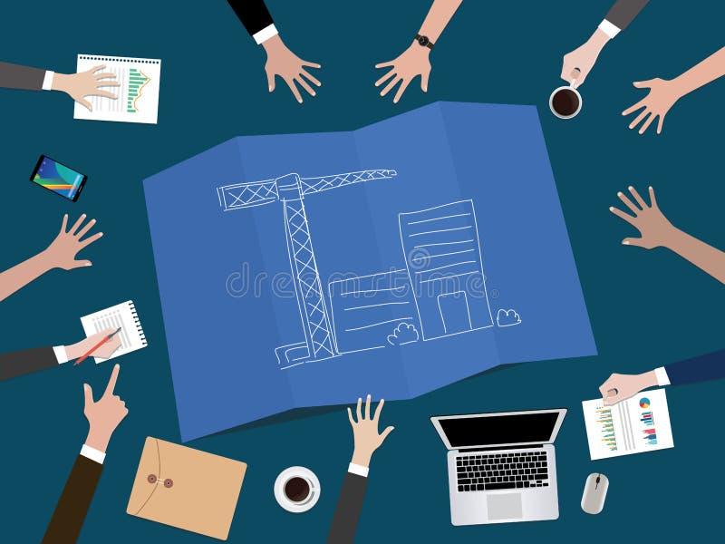 Kieruje firma rozwój lub buduje początkowej firmy pojęcia ilustrację z ręki drużyny pracą wpólnie na górze royalty ilustracja