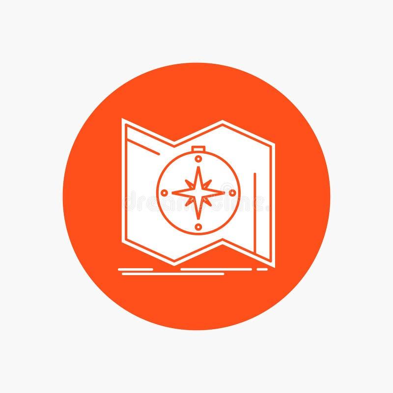 Kierunek, bada, kartografuje, żegluje, nawigacja glifu Biała ikona w okręgu Wektorowa guzik ilustracja royalty ilustracja