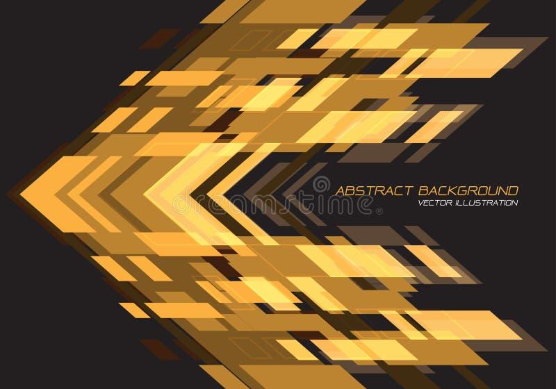 Kierunek geometryczny abstrakcyjnej żółtej strzałki w ciemnoszarym projekcie nowoczesny futurystyczny wektor tła ilustracja wektor