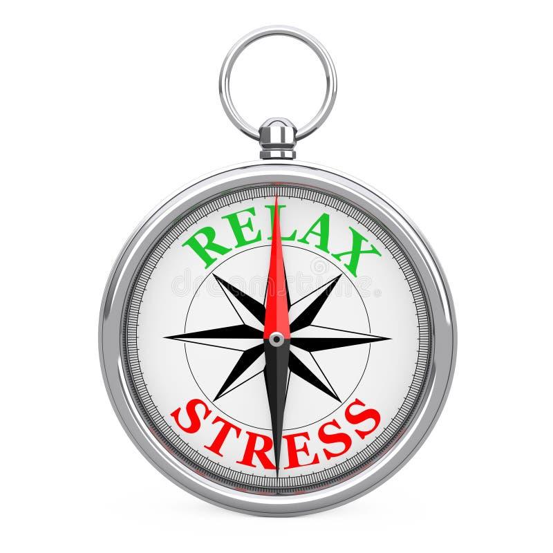 Kierunek Relaksować Szyldowego Cyrklowego zbliżenie lub Stresować się świadczenia 3 d ilustracji