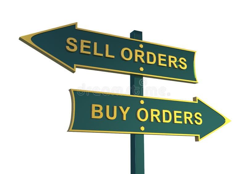 Kierunek sprzedaży i zakupu kierunek Zakupów rozkazy Bubla rozkaz ilustracja wektor