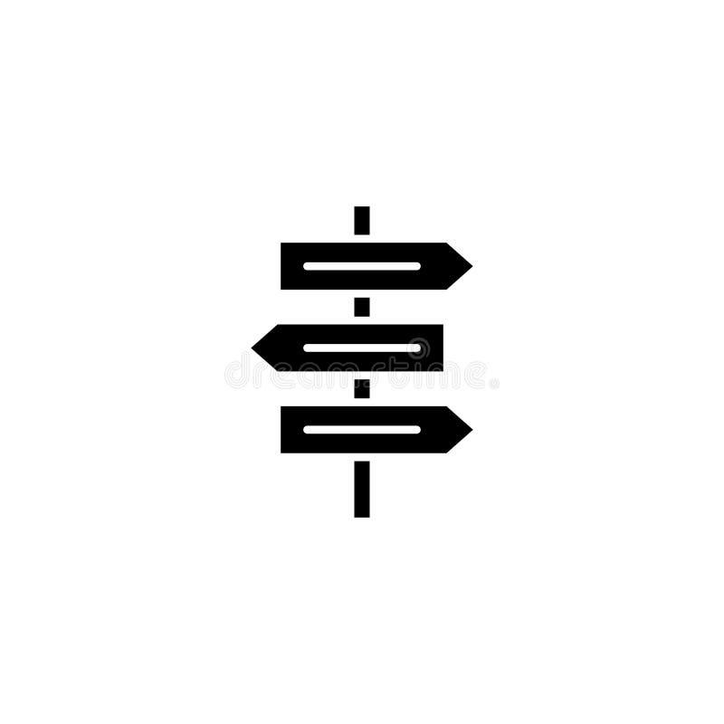 Kierunków znaków ikony czarny pojęcie Kierunków znaków płaski wektorowy symbol, znak, ilustracja ilustracji
