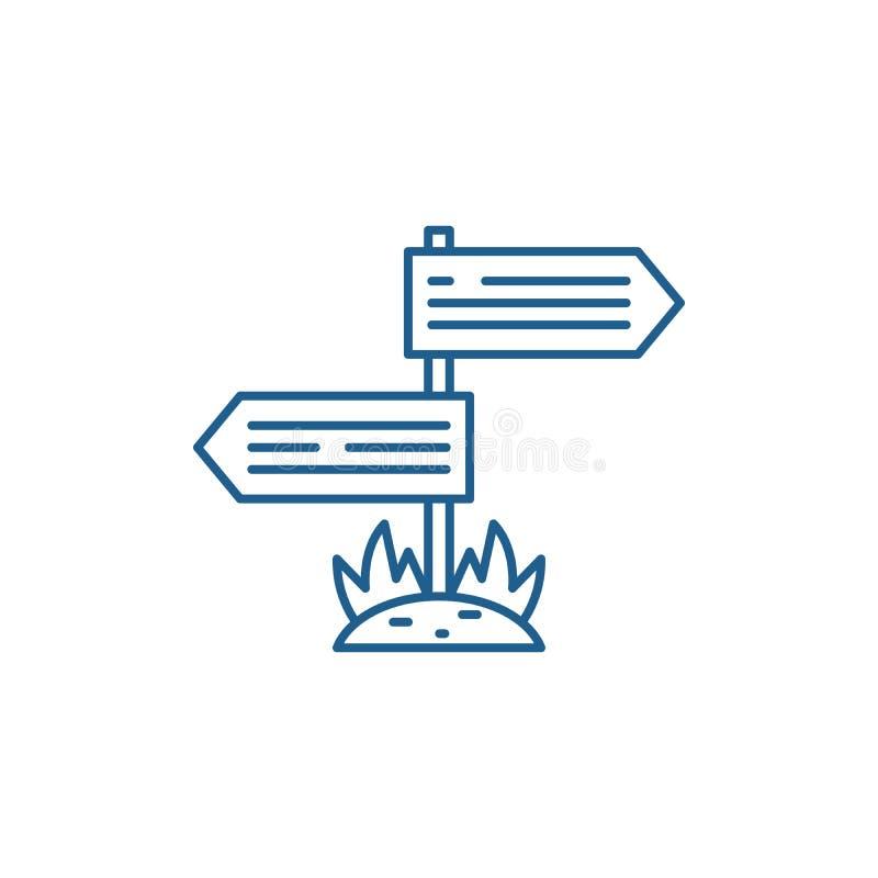 Kierunki drogi linii ikony poj?cie Kierunki drogowy p?aski wektorowy symbol, znak, kontur ilustracja ilustracja wektor