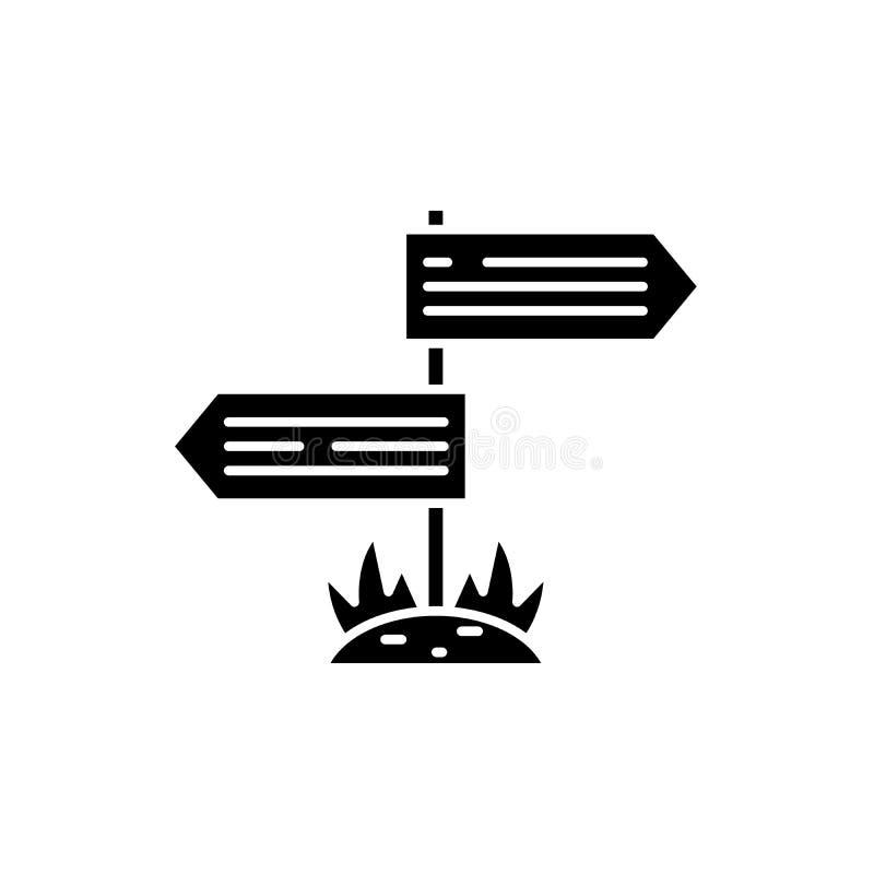 Kierunki drogowa czarna ikona, wektoru znak na odosobnionym tle Kierunki drogowy pojęcie symbol ilustracji