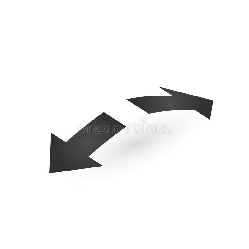 Kierunkowi 3d dwa opposite kierunki rozciągają strzały ikonę z cieniem Przedstawienia przesunięcie lub kierunek movable przedmiot ilustracji
